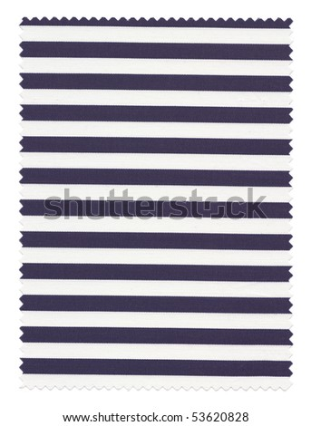 Navy Blue Striped Fabric Swatch with zigzag trimming edges