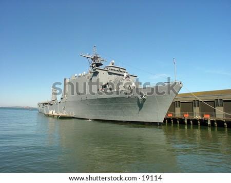 Navy boat docked. - stock photo