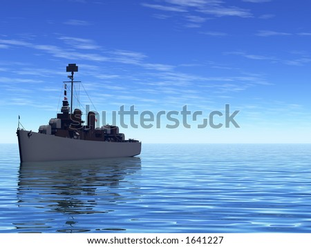 Navy Destroyer out at sea - stock photo
