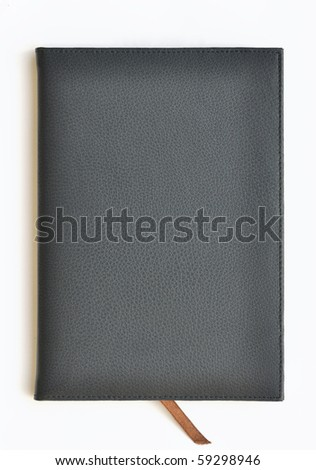Navy leather notebook on white background - stock photo