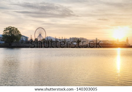 Navy Pier in Chicago at Sunrise. - stock photo