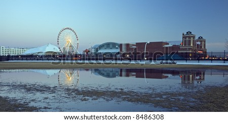 Navy Pier reflected - stock photo