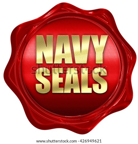 navy seals, 3D rendering, a red wax seal - stock photo
