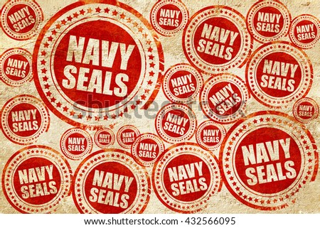 navy seals, red stamp on a grunge paper texture - stock photo