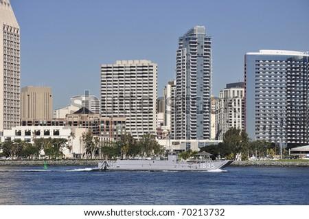 Navy vessel on San Diego Bay. - stock photo