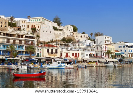Naxos island at the Cyclades of the Aegean sea in Greece - stock photo