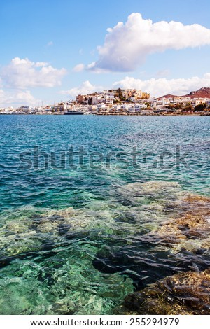 Naxos Old town with crystal clear waters. Greece. - stock photo
