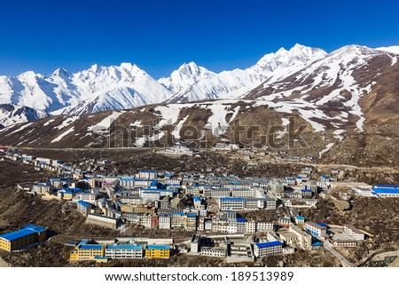 Naylam in Tibet on the way to Everest & Cho Oyu base Camps - stock photo