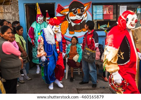Nayon, Ecuador, July 24, 2015: Popular festivities in the town of Nayon, processions and parades are held in the streets of the town.