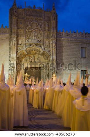 Nazarenos parade during holy week (semana santa) in Valladolid, Spain.