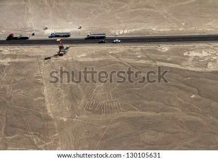 Nazca Lines, Aerial View with highway, Peru - stock photo