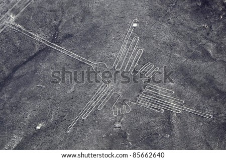 Nazca Lines - Humming Bird - Aerial View from a plane