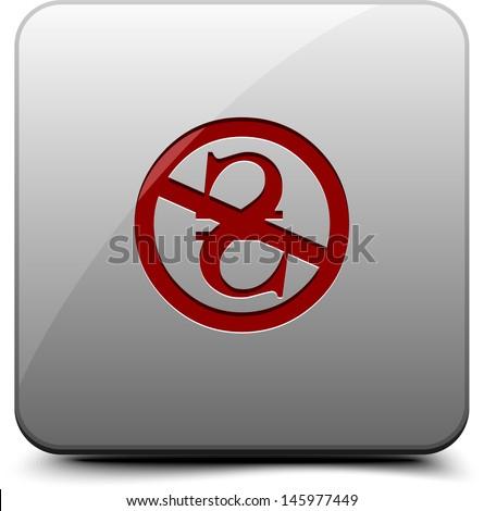 NC Noncommercial (Hrivna) button - stock photo