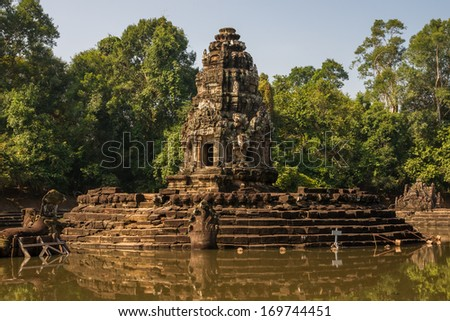 Neak Pean Temple at the Angkor Wat historical site area - stock photo