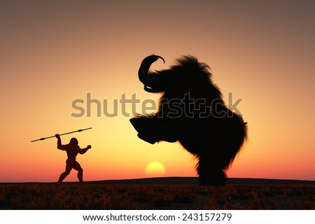 Neanderthal man hunting a woolly mammoth. - stock photo
