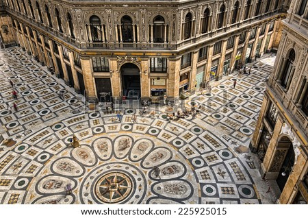 NEAPLES, ITALY - JULY 29, 2013: Galleria Umberto I, it is a public shopping gallery in Naples, southern Italy.