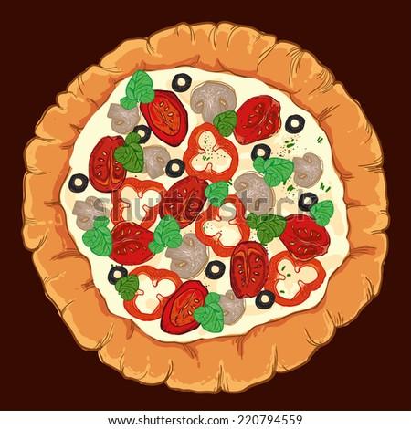 neapolitan pizza with mozzarella, tomato and basil - stock photo