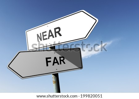 Near and Far directions.  Opposite traffic sign. - stock photo