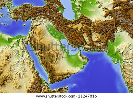 Near East from Egypt to Pakistan. Shaded relief map, colored according to elevation. Data source: NASA - stock photo