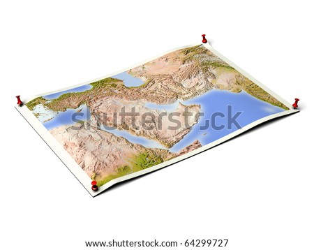 Near East on unfolded map sheet with thumbtacks. Map colored according to vegetation. Includes clip path for the background. - stock photo