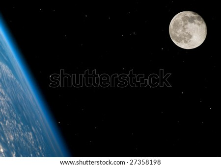 Near full moon on a large star field with the Earth in the foreground - stock photo
