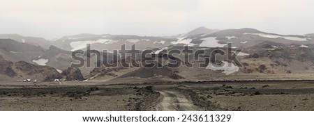 Near lake Askja in Iceland where Apollo astronauts were training for their mission - stock photo
