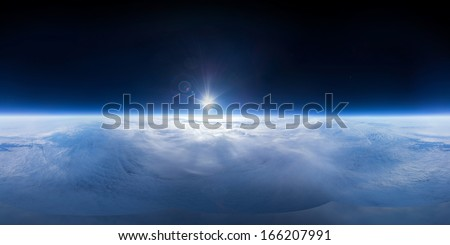 Near Space panorama - 22km above ground / real panorama - stock photo