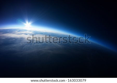 Near Space photography - 20km above ground / real photo taken from weather balloon / universe stratosphere / - stock photo