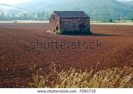 Near St-Sernin-sur-Rance, Midi Pyrenees, Southern France. Hut - stock photo