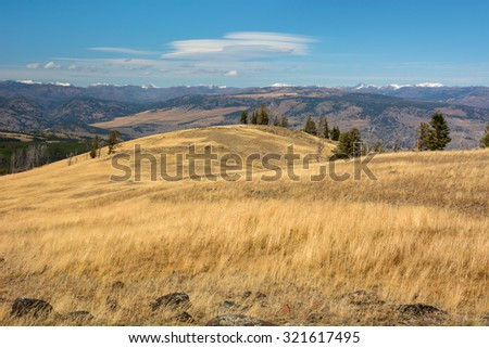 Near the parking are of the Chittenden Road in Yellowstone National Park. Lenticular clouds above the mountains. - stock photo