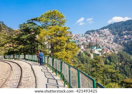 Near the Shimla Railway station in Shimla, Himachal Pradesh, India - stock photo