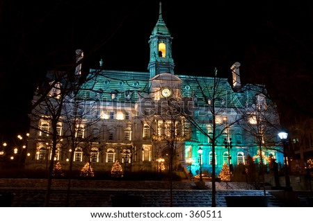 Nearest view of Illuminated Montreal city hall, Quebec, Canada - stock photo