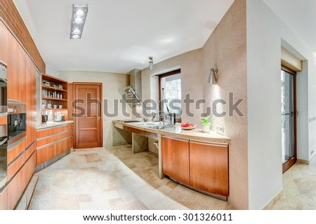 Neat and modern kitchen in the house  - stock photo