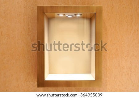 Neat wooden Empty glass showcase display - stock photo