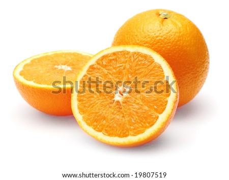 Neatly retouched orange isolated on white background - stock photo