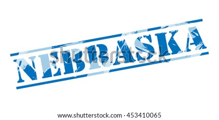 nebraska blue stamp on white background - stock photo