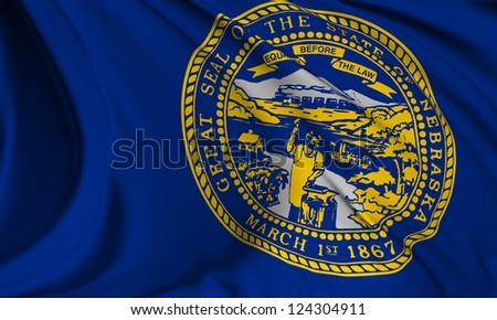 Nebraska flag - USA state flags collection no_3 - stock photo