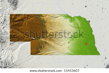 Nebraska. Shaded relief map, with major urban areas and rivers, surrounding territory greyed out. Colored according to elevation. Clipping path for the state area included. Data source: NASA - stock photo