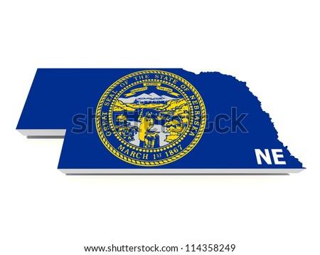 nebraska state flag on 3d map - stock photo