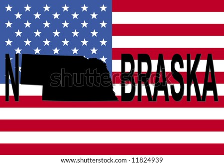 Nebraska text with map on American flag illustration JPG