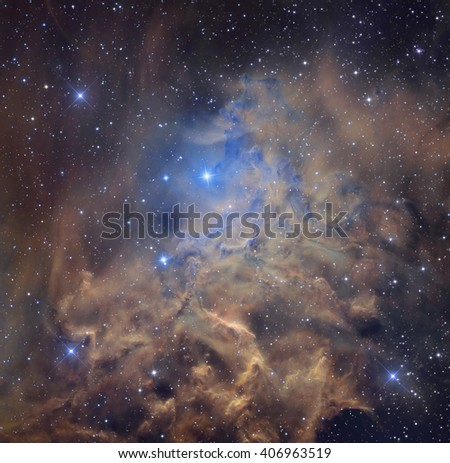 Nebula and stars in cosmic space. Retouched image. Elements of this image furnished by NASA. - stock photo