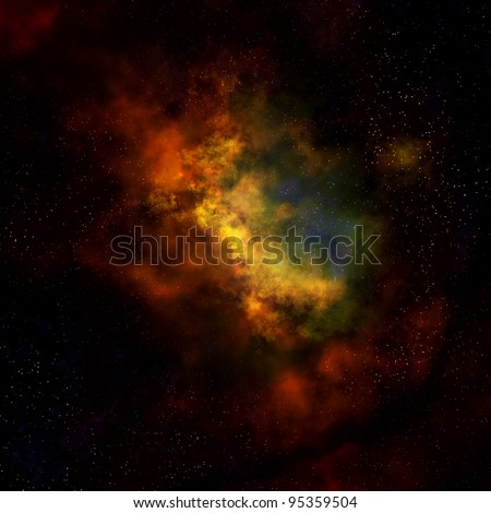 nebula cloud in outer space - stock photo