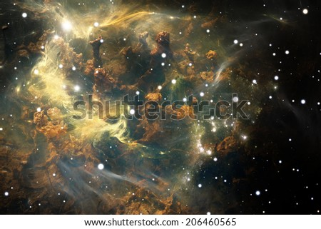Nebula. Cloud of gas and dust blocks the light of distant stars. - stock photo