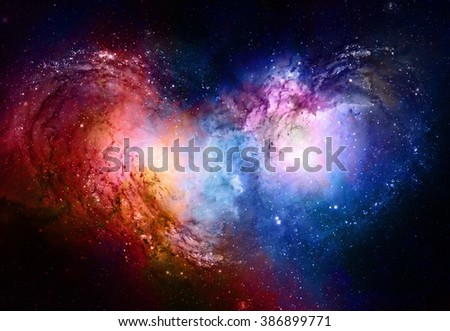 Nebula, Cosmic space and stars, blue cosmic abstract background. Elements of this image furnished by NASA - stock photo