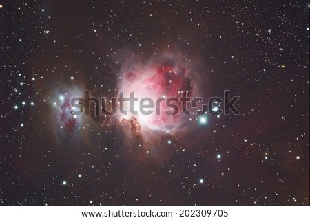 Nebula,Deep sky object M42 Orion nebula - stock photo