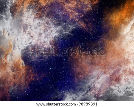 Nebula in space background - stock photo