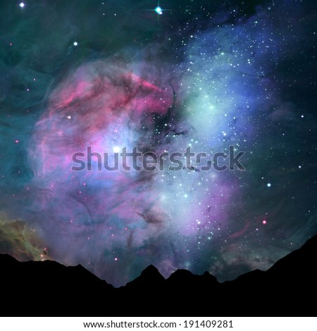 nebula in the stars sky background.Elements of this image furnished by NASA. - stock photo