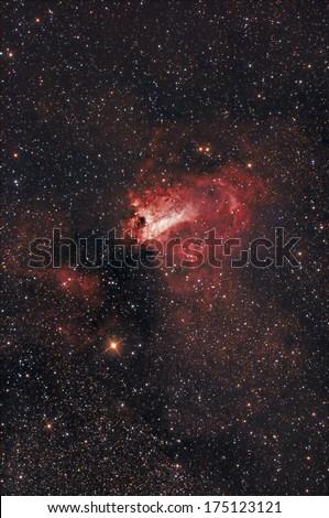 Nebula in zodiac constellation of the Archer. - stock photo