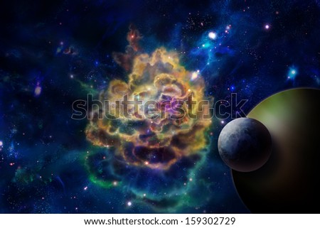 Nebula or molecular cloud, like an explosion and a planet - stock photo
