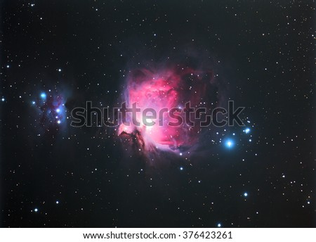 Nebula Orion M42 with Galaxy,Open Cluster,Globular Cluster, stars and space dust in the universe long expose. - stock photo